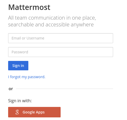 Sign in to Mattermost using your Google Apps credentials.